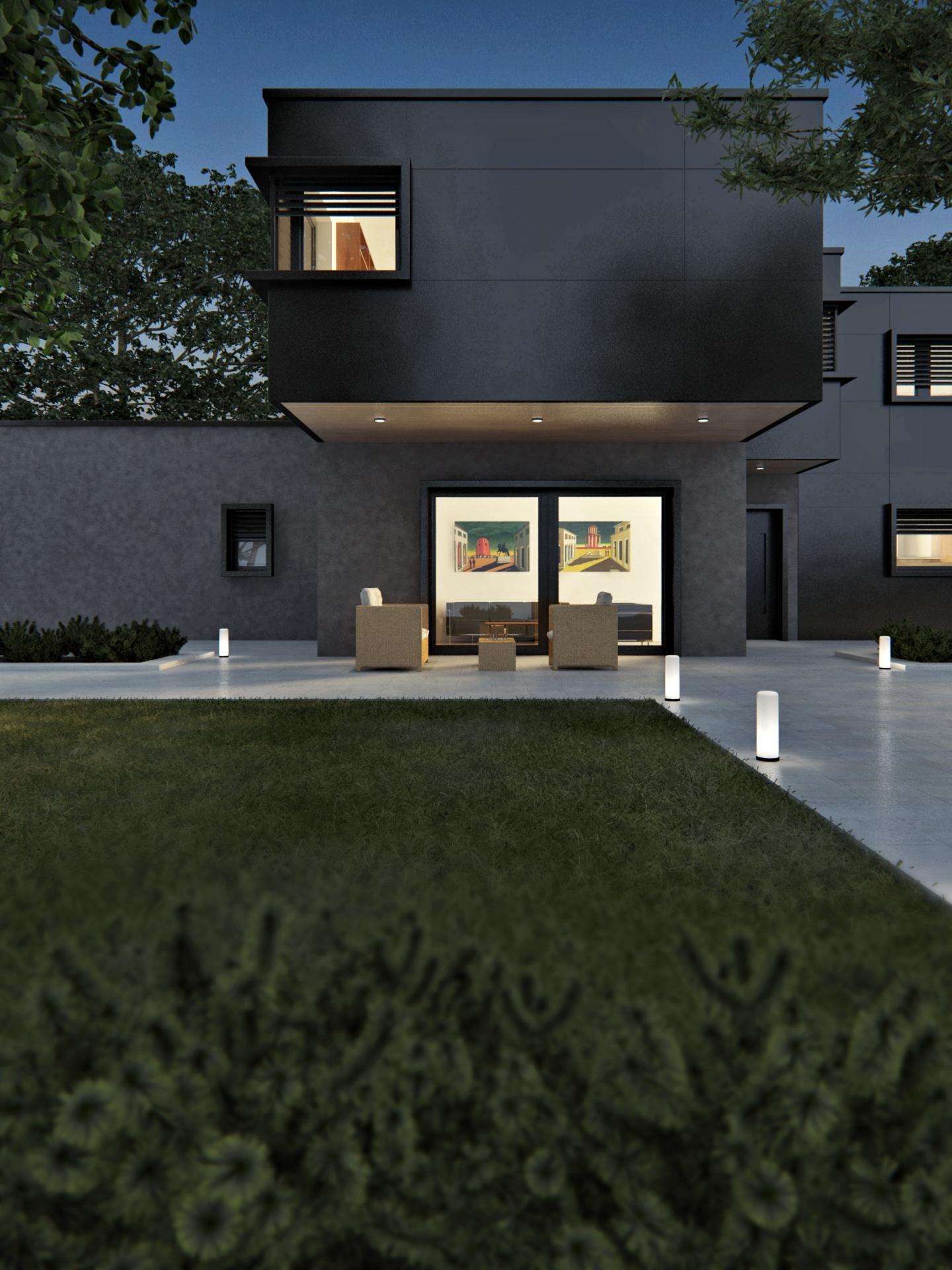 render esterni villa vista notturna 3dcomotion