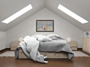 render interni camera da letto sottotetto 3dcomotion
