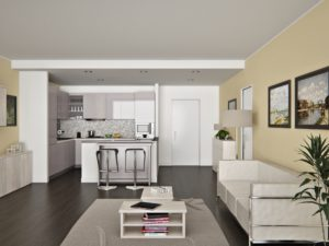 render interni cucina soggiorno 3dcomotion